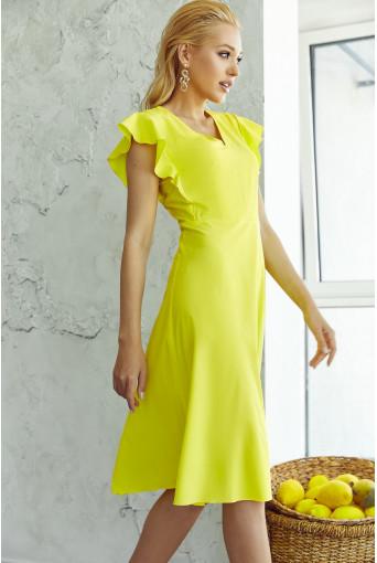 Платье миди с воланами желтое