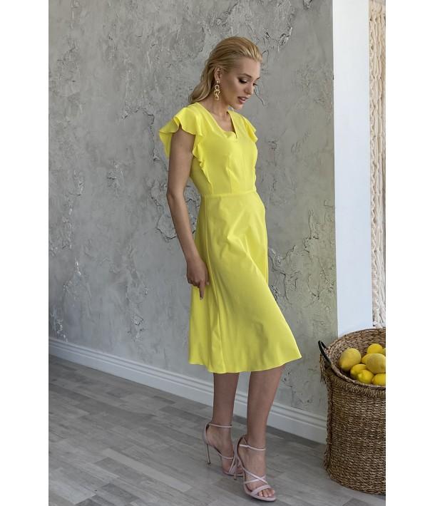 Сукня міді з воланами жовта