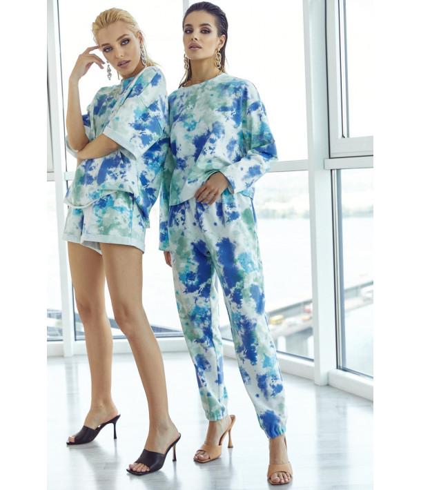 Трикотажный костюм с принтом тай-дай мятно-голубой (свитшот и брюки)