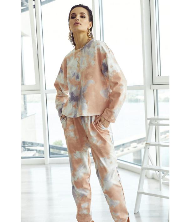 Трикотажний костюм з принтом тай-дай пудрово-білий (світшот та брюки)