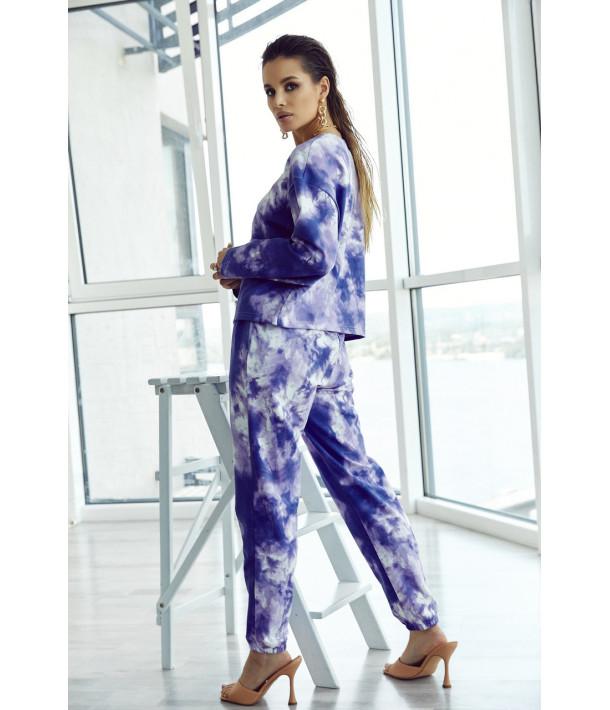 Трикотажный костюм с принтом тай-дай фиолетово-белый (свитшот и брюки)