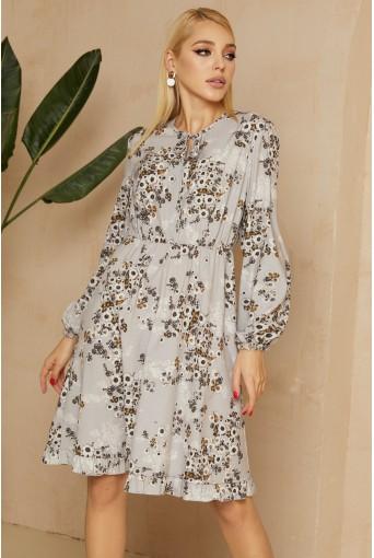 Серое платье с завязками в цветочный принт