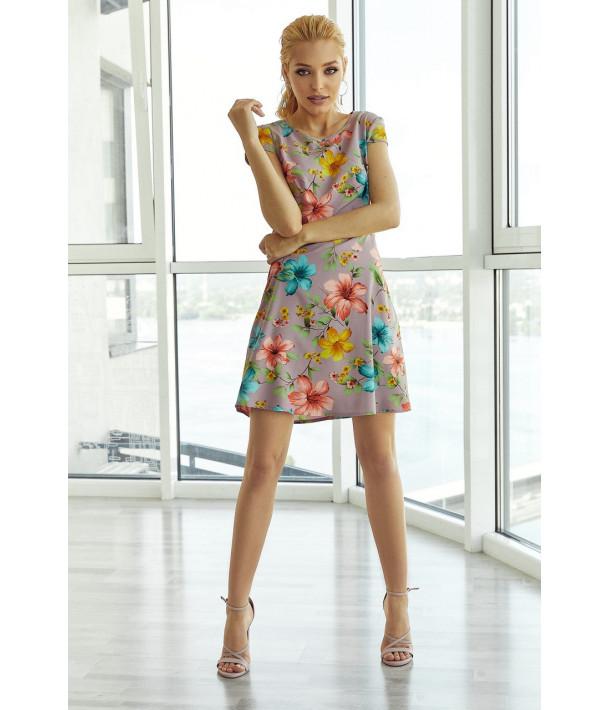 Платье мини приталенное в яркие цветы на фрезовом