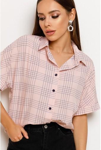 Жіноча сорочка в клітинку з коротким рукавом пудрова