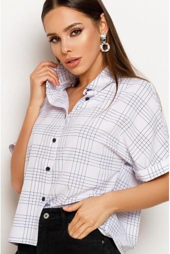 Жіноча сорочка в клітинку з коротким рукавом молочна