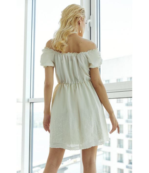 Ванильное платье прошва с рукавом фонариком
