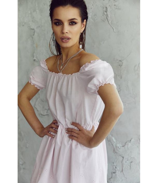 Пудровое платье прошва с рукавом фонариком