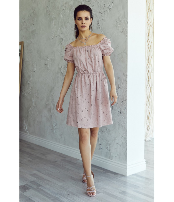 Фрезовое платье прошва с рукавом фонариком