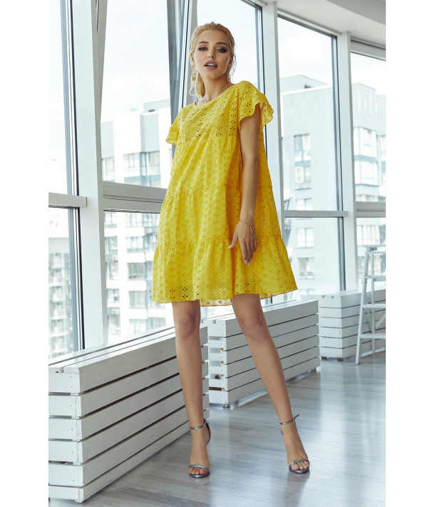 Ярусное платье-мини прошва желтое