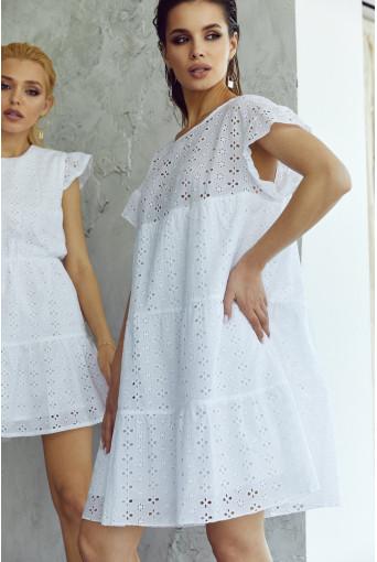 Ярусное платье-мини прошва белое
