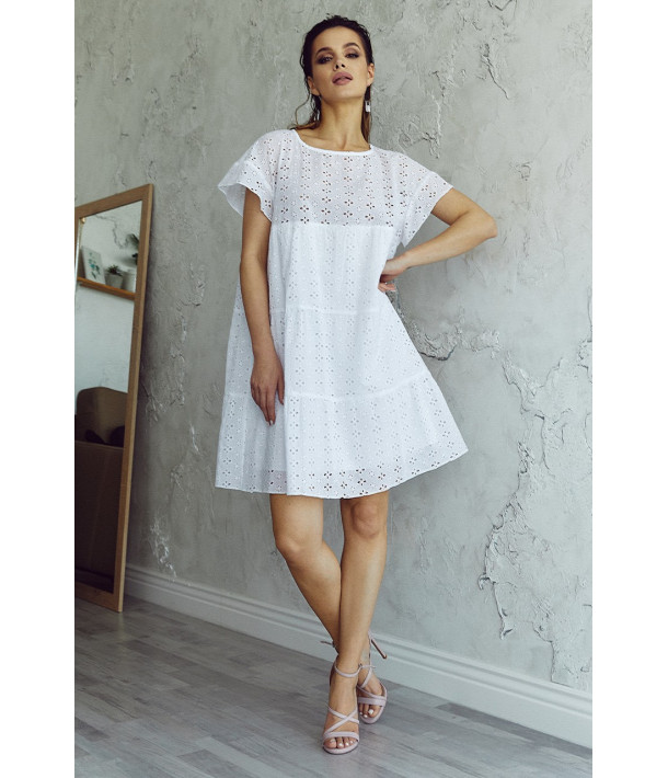 Ярусна сукня-міні прошва біла