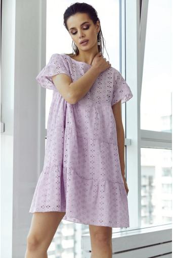 Ярусное платье-мини прошва лавандовое