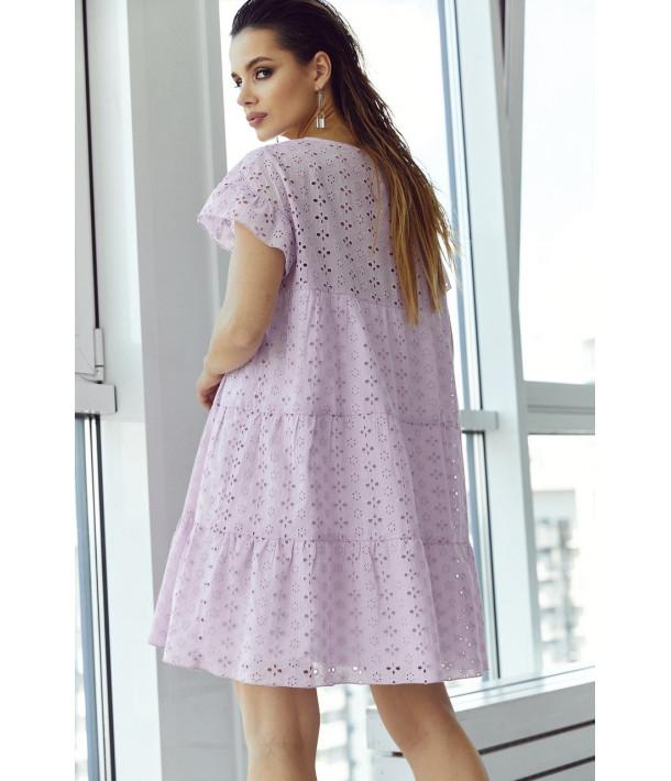 Ярусна сукня-міні прошва лавандова