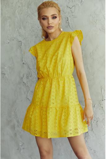 Платье-мини с оборкой прошва желтое