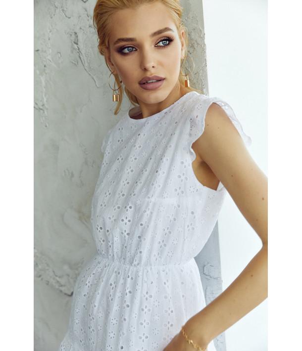 Сукня-міні з оборкою прошва біла