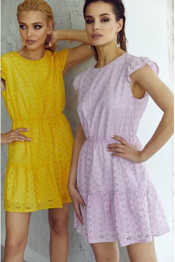 Платье-мини с оборкой прошва лавандовое
