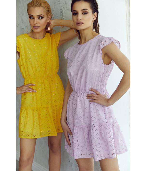 Сукня-міні з оборкою прошва лавандова