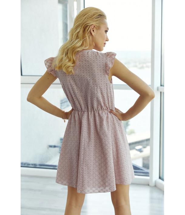 Фрезовое платье на запах прошва короткий рукав