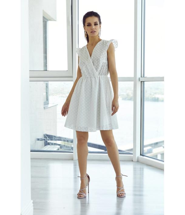 Біла сукня на запах прошва короткий рукав