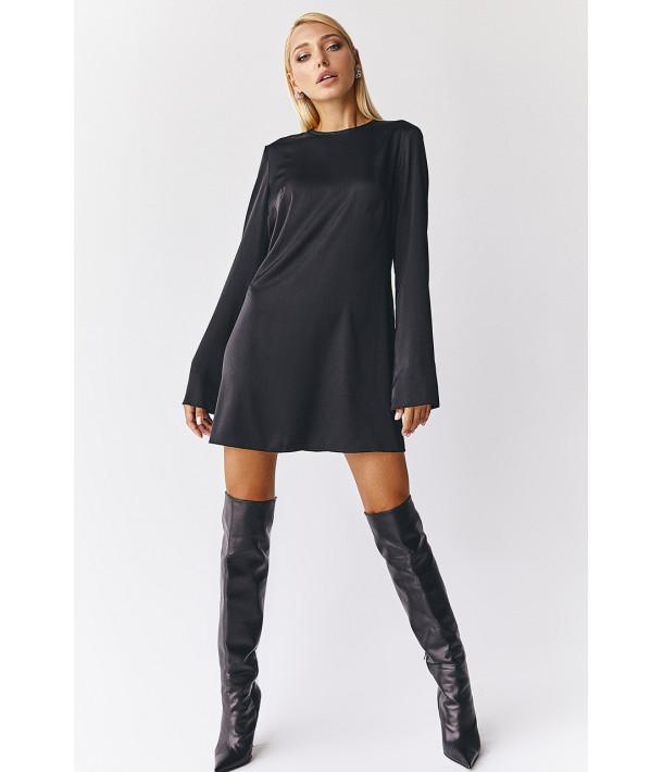 Сукня міні напівприталена штучний шовк чорна