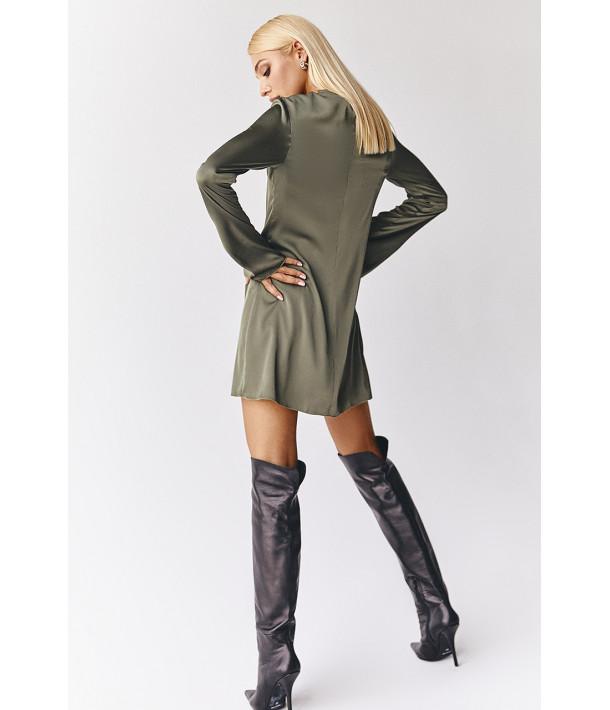 Платье мини полуприталенное искусственный шелк хаки