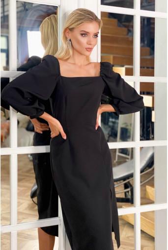 Платье-футляр с разрезом деми черное