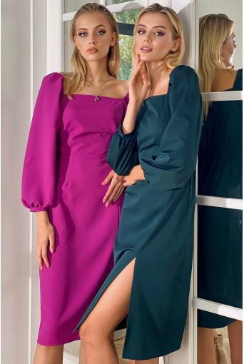 Платье-футляр с разрезом деми фуксия