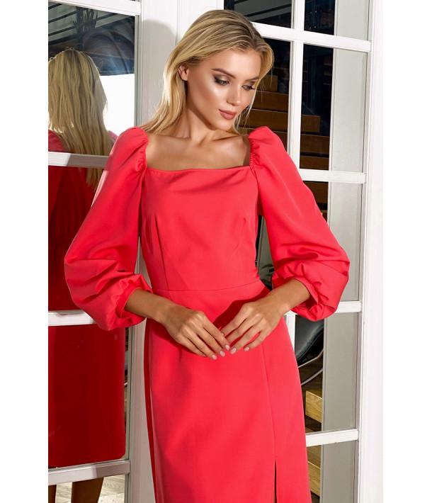 Сукня-футляр з розрізом демі коралова