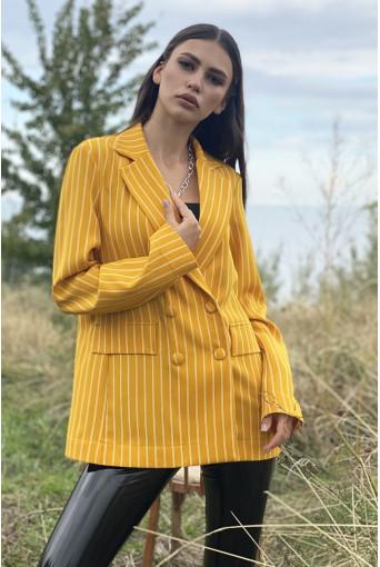 Жакет оверсайз молочные полоски на желтом