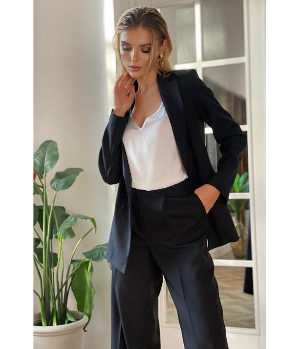 Жакет оверсайз костюмная ткань черный