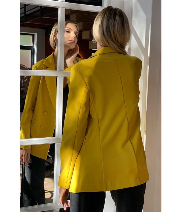 Жакет оверсайз костюмная ткань желтый