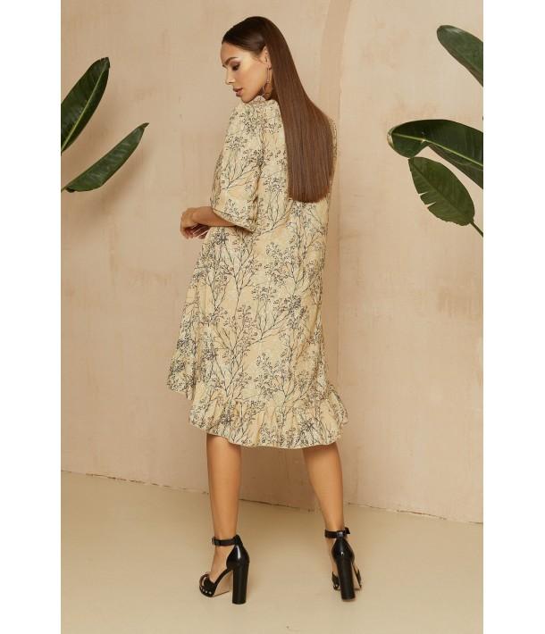Бежева сукня з принтом гілочки