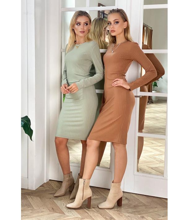 Сукня-футляр трикотаж широкий рубчик кемел