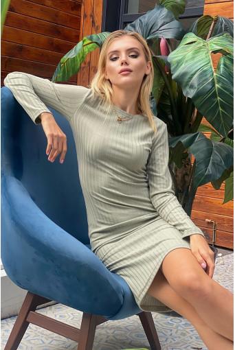 Платье-футляр трикотаж широкий рубчик шалфей