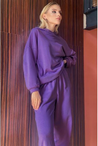 Трикотажный костюм сиреневый: худи и брюки