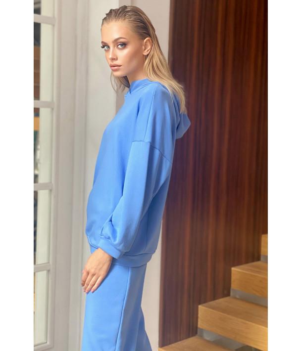 Трикотажний костюм блакитний: худі та брюки
