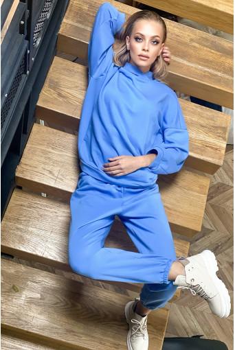Трикотажный костюм голубой: худи и брюки
