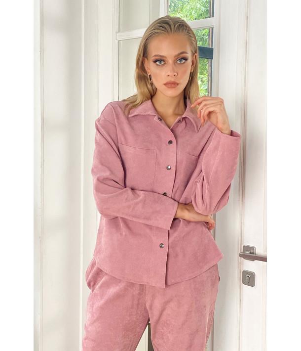 Жіночий вельветовий костюм рожевий