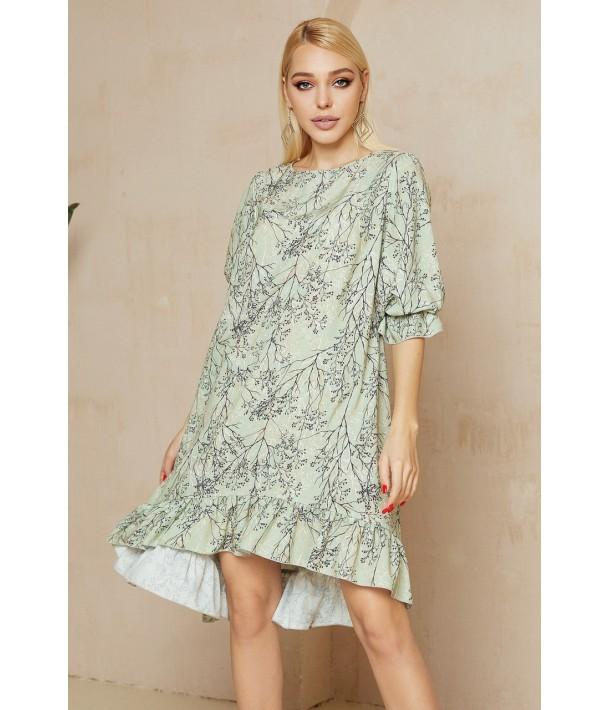 Світло-зелена сукня з принтом гілочки
