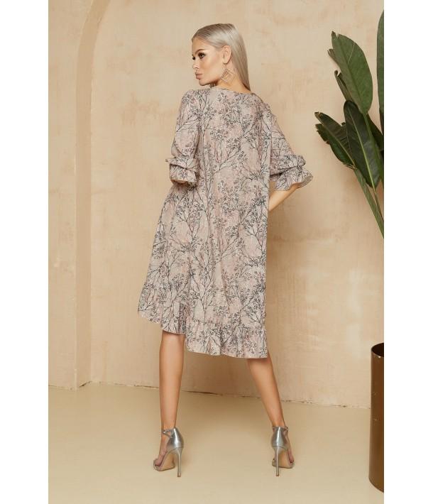Сукня з принтом гілочки в кольорі латте