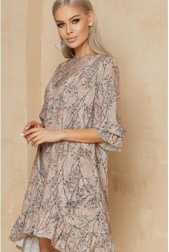 Платье с принтом веточки в цвете латте