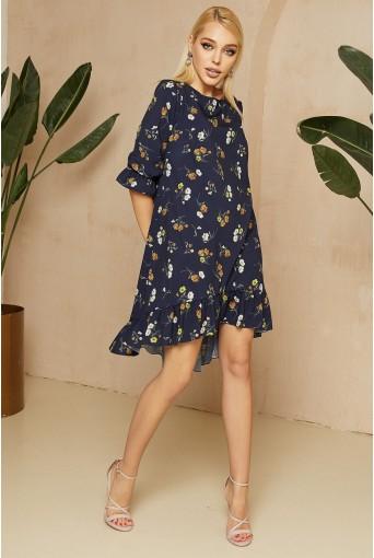 Темно-синее платье с принтом веточки