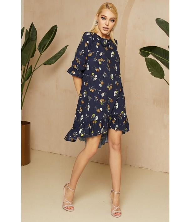 Темно-синя сукня з принтом гілочки
