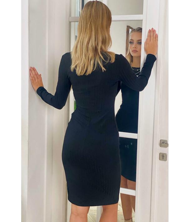 Сукня-футляр трикотаж широкий рубчик чорна
