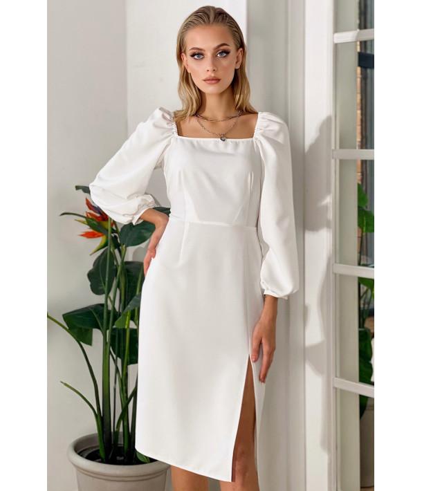 Платье-футляр с разрезом деми молочное
