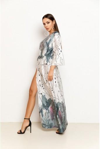 Платье макси из искусственного шелка с абстрактным принтом