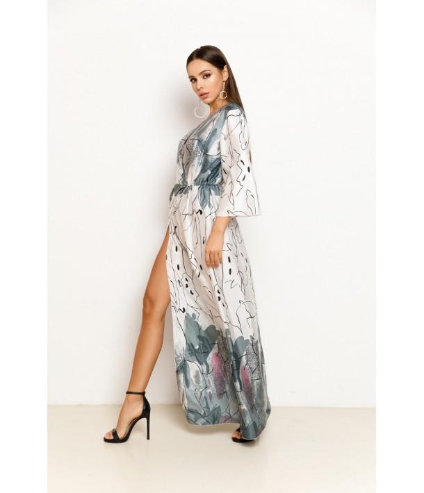 Сукня максі зі штучного шовку з абстрактним принтом