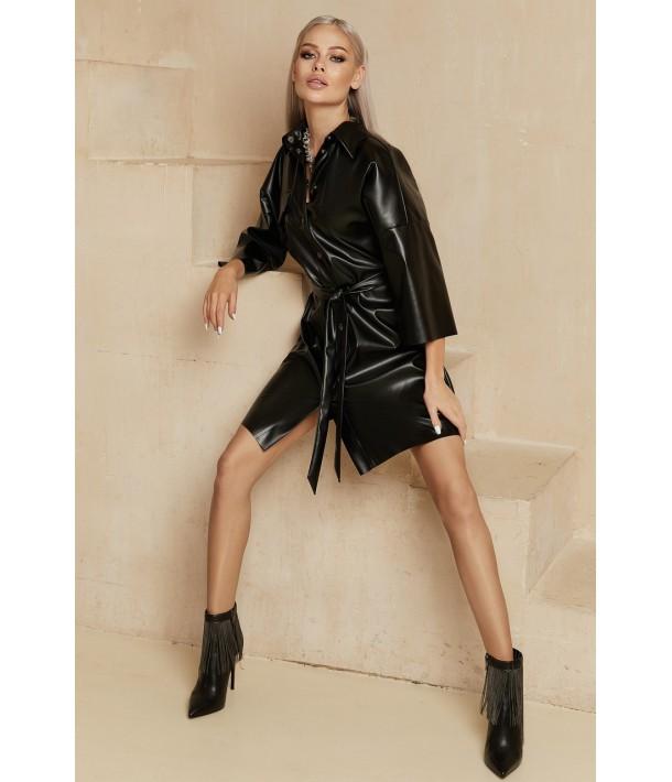 Чорна сукня-сорочка міні з еко-шкіри