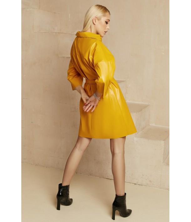 Гірчична сукня-сорочка міні з еко-шкіри