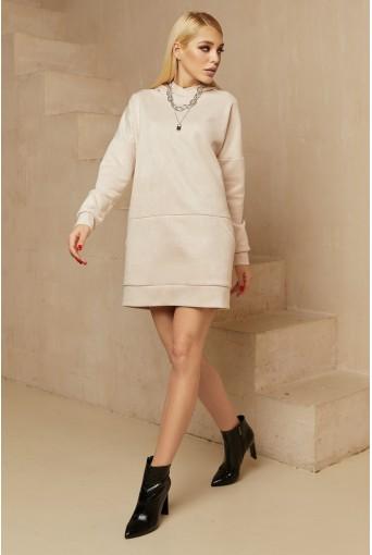 Молочное мини платье-худи замшевое